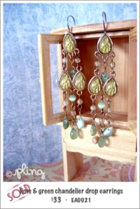 EA0021 - lime & green chandelier drop earrings