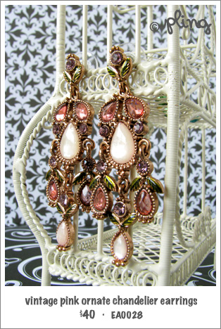 EA0028 - vintage pink ornate chandelier earrings