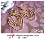 EA0031 - Liz Clairborne light gold quadruple chain earrings