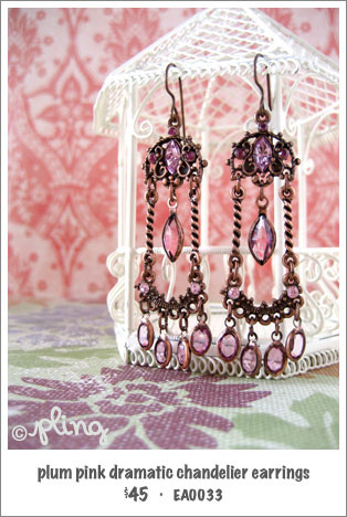 EA0033 - plum pink dramatic chandelier earrings
