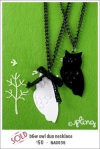 NA0039 - b&w owl duo necklace