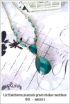 NA0012 - Liz Clairborne peacock green choker necklace