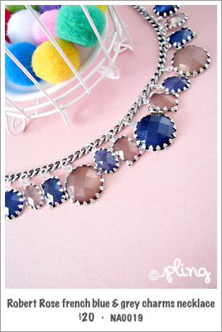 NA0019 - Robert Rose french blue & grey charms necklace