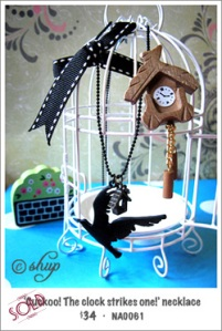NA0061 - 'Cuckoo! The clock strikes one!' necklace