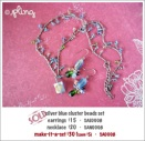SA0008 - silver blue cluster beads set