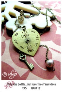 NA0117 - 'Spin the bottle...do I love thee?' necklace