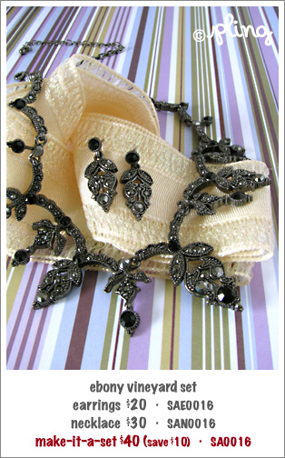 SA0016 - ebony vineyard necklace & earrings set