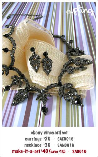 SA0016 - ebony vineyard necklace & earrings set