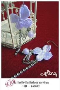 EA0012 - butterfly flutterlace earrings