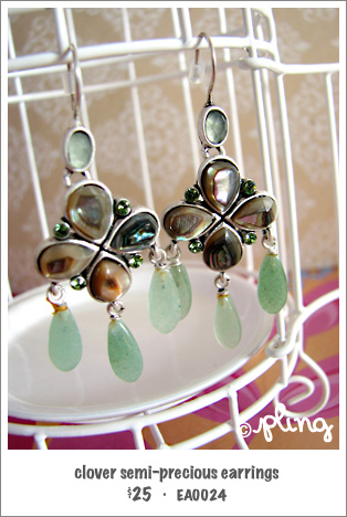 EA0024 - clover semi-precious earrings