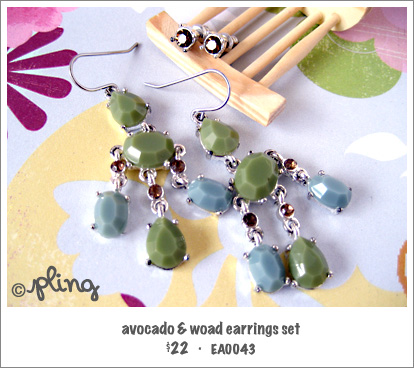 EA0043 - avocado & woad earrings set