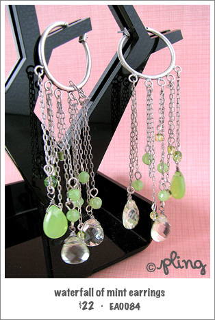 EA0084 - waterfall of mint earrings