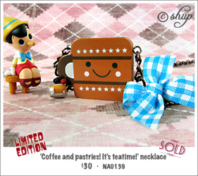 NA0139 - 'Coffee and pastries! It's teatime!' necklace