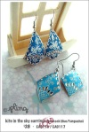 EA0116 and EA0117 - peacock blue/turquoise kite in the sky earrings