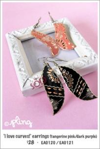 EA0120 - 'I love curves!' earrings in tangerine pink