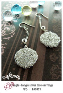 EA0071 - tangle-dangle silver disc earrings