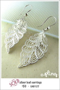 EA0127 - silver leaf earrings