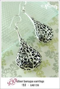 EA0139 - silver baroque earrings