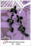 EA0082 - jet black leaf drop earrings