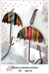 NA0176 - rainbow umbrella necklace