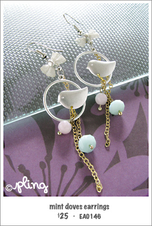 EA0146 - mint doves earrings