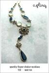 NA0104 - sparkly flower choker necklace
