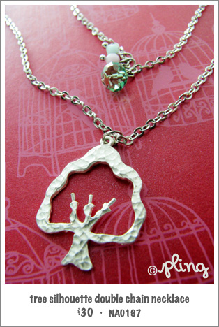 NA0197 - tree silhouette double chain necklace