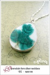 NA0199 - porcelain fern silver necklace