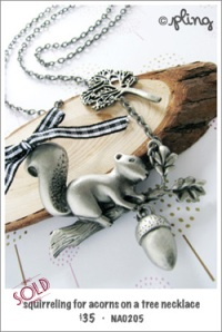 NA0205 - squirreling for acorns on a tree necklace