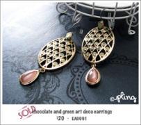EA0091 - chocolate and green art deco earrings
