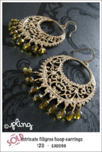 EA0096 - intricate filigree hoop earings