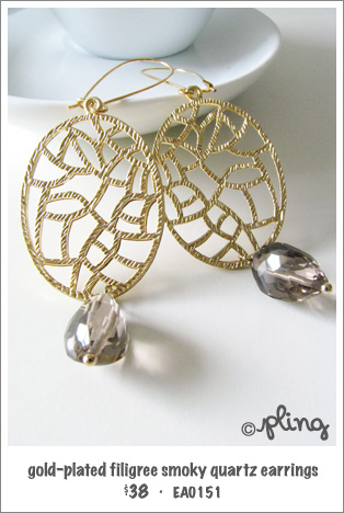 EA0151 - gold-plated filigree smoky quartz earrings