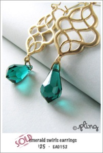 EA0152 - emerald swirls earrings