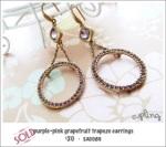 EA0089 - purple-pink grapefruit trapeze earrings