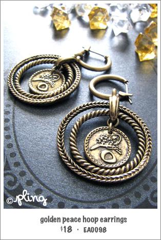 EA0098 - golden peace hoop earrings