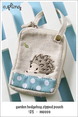 PA0009 - garden hedgehog zipped pouch