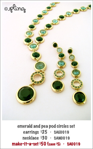 SA0019 - emerald and pea pod circles set
