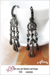 EA0085 - jet set, jet black earrings