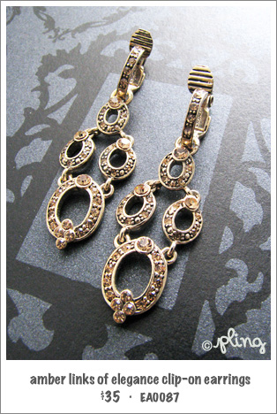 EA0087 - amber links of elegance clip-on earrings