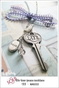 NA0222 - life~love~peace necklace