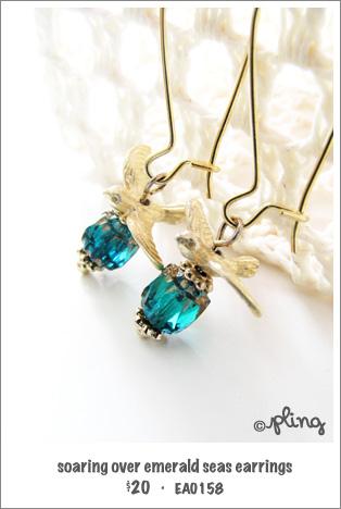 EA0158 - soaring over emerald seas earrings