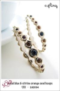 EA0094 - royal blue & citrine orange hoops earrings