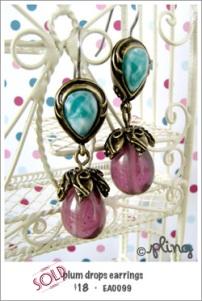 EA0099 - plum drops earrings