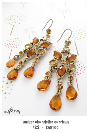 EA0100 - amber chandelier earrings
