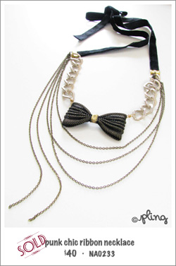 NA0233 - punk chic ribbon necklace