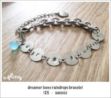 DA0002 - dreamer loves raindrops bracelet